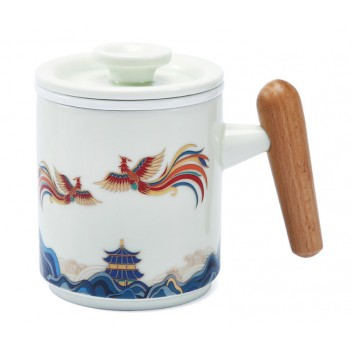 Guochao Ceramic Office Cup | Tea and Water Separating Tea Cup | Filter Mug with Lid | Hundred Birds Chaofeng Creative Water Cup