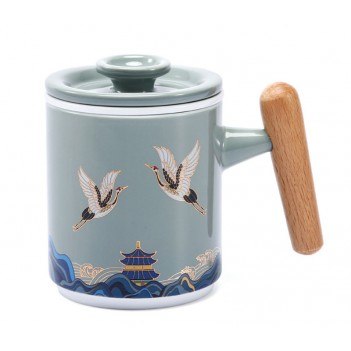 Guochao Ceramic Office Cup | Tea and Water Separating Tea Cup | Filter Mug with Lid | Crane pattern Creative Water Cup