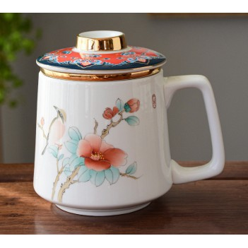 New Hand-painted Ceramic Tea Set Tea Cup Personal Cup with Lid Filter Office Cup Birthday Gift Tea Drinkware