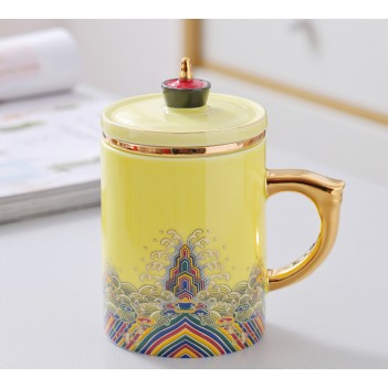 Traditional Chinese Jingdezhen Ceramic Blue and White Porcelain Mug Red/Blue/Yellow/White Tea Cup with Lid Drinkware 400ml