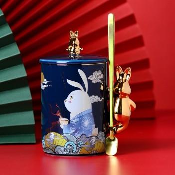 National Tide Mug|Yutu Mug|Year of the Rat Creative Ceramic Mug|Chinese style personality large capacity coffee cup with lid