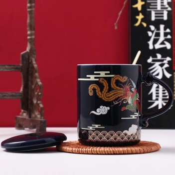 Chinese style ceramic mug|dragon and phoenix|Coffee Cup High-End National Style Couple Ceramic Mug Gift