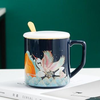 Internet celebrity Chinese style ceramic mug|Creative gold-painted mug|office tea cup