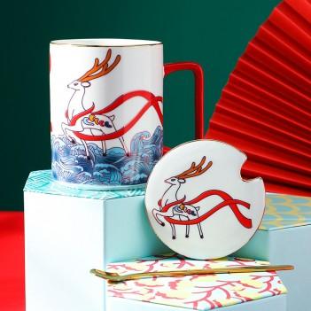 Chinese style national tide crane ceramic mug customization|Coffee Cup High-End National Style Couple Ceramic Mug Gift
